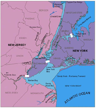 "Storm surge barrier locations proposed for NYC starting in 2004 after a study predicting the flooding from a ""superstorm."" Image is from New York Sea Grant."