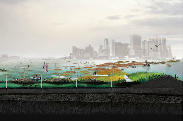 """Oyster-tecture"" reefs proposed by Scape/Landscape Architecture for storm surge protection in NY harbor. Part of the Museum of Modern Art's exhibition ""Rising Currents"" in 2010."