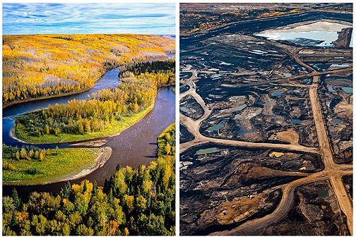 Boreal forest before; tar sands after. source