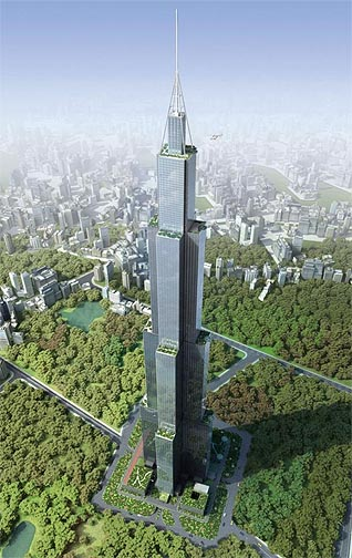 Sky City, planned for construction in Changsha, Hunan. Image source: BD&C
