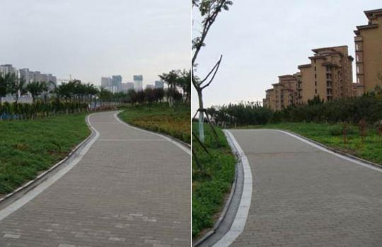 Tianjin Eco-City sidewalks as currently built. Image credit: Tianjin Eco-City