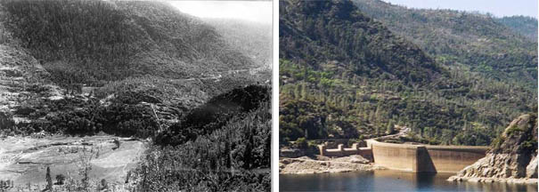 The Hetch Hetchy Valley before and after the dam. Images via Wikimedia.