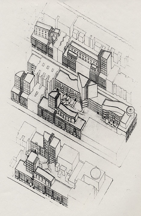 "Competition Entry by David Bergman Architect for ""Reweaving the Urban Fabric: Approaches to Infill Housing,"" 1985."