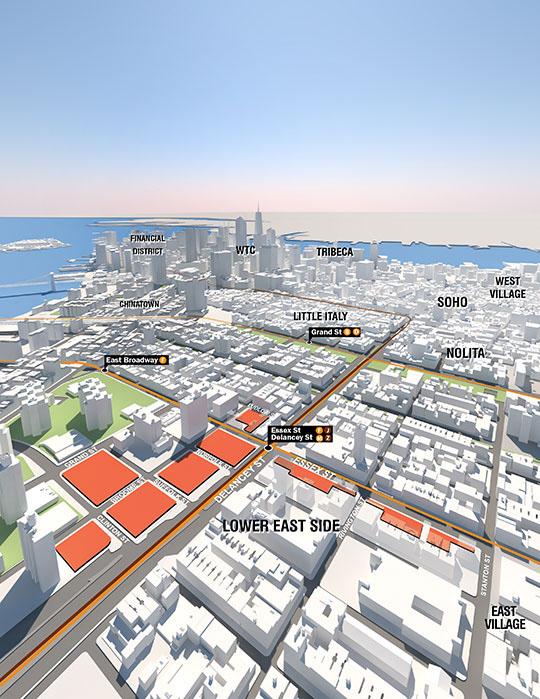 SPURA (Seward Park Urban Renewal Area) site. Image source NYC EDC