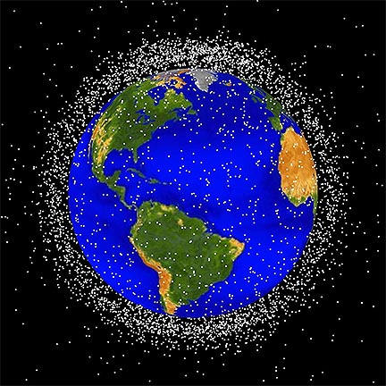 The final frontier of garbage. A depiction of debris in low Earth orbit by NASA