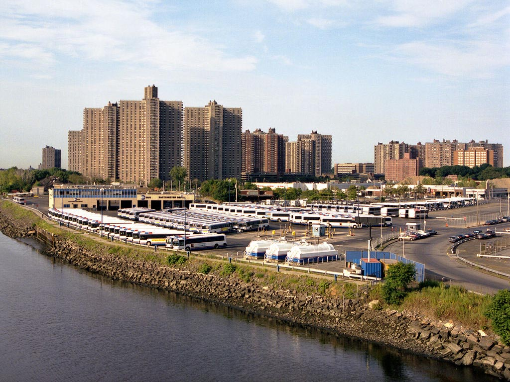 Bus depot adjacent to housing in the Bronx. Photo: Infinite Jeff/Flickr
