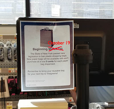 NYS's plastic bag ban now enforced